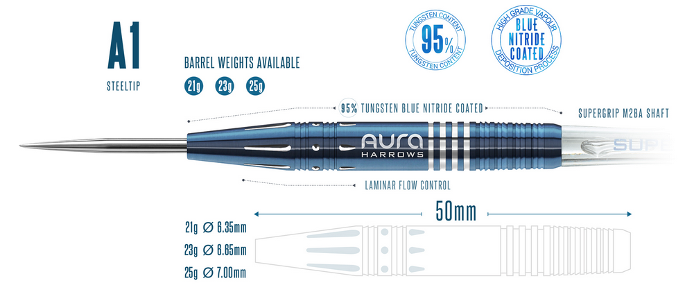Harrows Aura A1 95% Tungsten 23 gram Steel Tip Darts 23gR