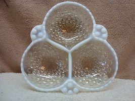 Anchor Hocking Glass moonstone hobnail three compartment candy dish. - $20.00