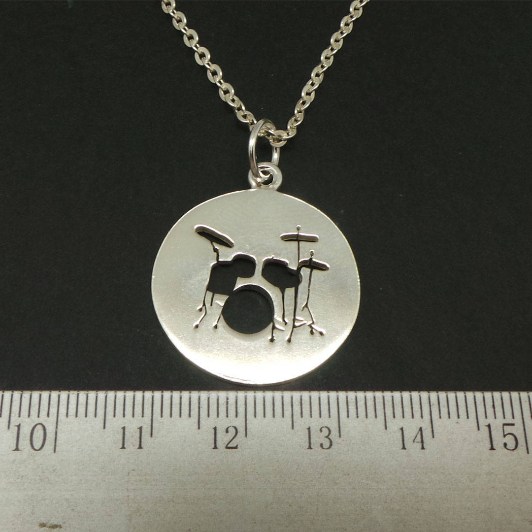 Handmade 925 Sterling Silver Music Drum Necklace Pendant for Muscian Gift