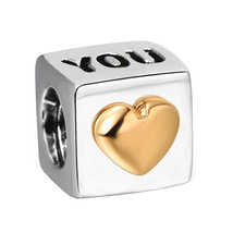 Sterling Silver 925 Love You Charm Bead Fits Pandora Bracelets 1pcs - $7.50