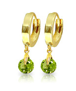 2 CTW 14K Solid Gold Hoop Earrings Natural Peridot - $135.62
