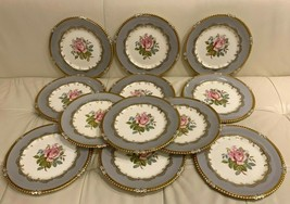 Aynsley G. BENTLEY 7913 Gray Rim with Gold Trim and a Pink Rose 12 Dinner Plates - $989.01