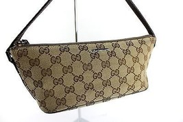 Auth GUCCI GG Pattern logo Canvas Beige&Brown pouche Mini Handbag Italy ... - $117.81