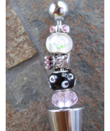 Handmade Beaded Bottle Wine Stopper Winestopper Black Pink Glass Beads C... - $11.00