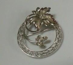 Vintage Signed Sterling CA Arrow Faceted Rhinestone Leaf Floral Brooch - $31.19