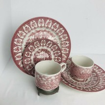 Broadhurst Ironstone Plate Saucer Cup 2 Sets Staffordshire English Castles Red - $39.55