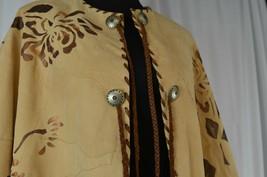 Char Santa Fe Women's Buckskin Leather Poncho Floral Decals One Size Bro... - $294.52