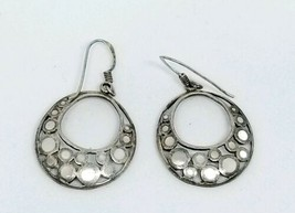 Sterling Silver .925 Mother of Pearl Circle Dangle Earrings  - $19.79