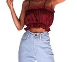 Men sexy spaghetti strap ruffles splicing blouse female pure color slash neck slim thumb155 crop
