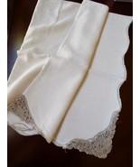 Vintage Linen color Tablecloth Crochet lace corners scalloped edge 54x82... - $54.45