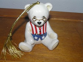Lenox Teddy's 100th Anniversary White w Patriotic Vest Porcelain Bear Ch... - $7.69