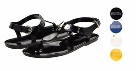 New Michael Kors MK Premium Plate Jelly Thong Rubber T-Strap Shoes Sandals