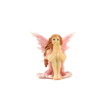 Shimmer Pink Fairy, Sitting Pink Fairy  Holding a Gold Ball, Birthday Gift - $6.99