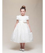 Stunning Ivory Lace Flower Girl Pageant Dress w/Rose Flower Crayon Kids USA - $52.95