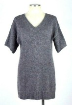 J.Crew Muted Slate Mohair Wool Knit V Neck Short Sleeve Sweater Tunic To... - $27.71