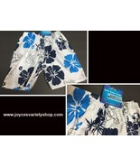 "Boy's Swim Shorts Trunks Blue & White Floral 10.2"" x 14.2"" SZ 3/4 Toddler - $6.99"