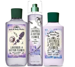 Bath & Body Works Lavender & Cotton Flower Trio Gift Set  - $45.95