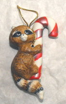 Adorable Little Raccoon With Candy Cane Christm... - $4.00