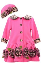 Bonnie Jean Little Girls 2T-4T Fuchsia Bonaz Rosette Border Fleece Coat/Hat Set