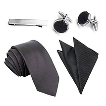 Mens Tie Pocket Square Set with Cuff Links and Tie Clip in Gift Box - Best Gift