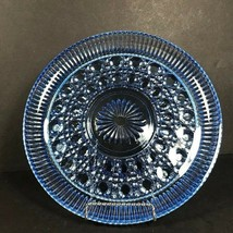 Vintage Blue glass round platter, button cane pressed glass, something b... - $70.26