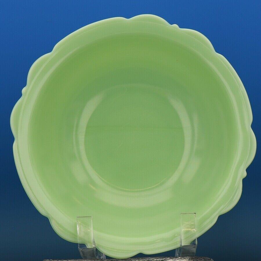 "Vintage McKee Jadeite Skokie Green 8 1/2"" Depression Glass Scalloped Edge Bowl"