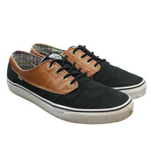 VANS Winston Brown Leather Black Canvas Low Top Lace-ups Sneakers M 9.5 ... - $34.64