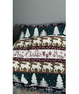 VTG  Merry Christmas Afghan Throw Blanket. Very soft 100% cotton - $18.69
