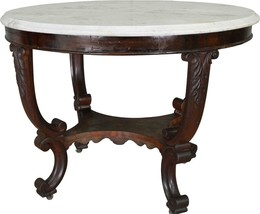 17483 Large Empire Victorian Marble Top Center Table - $685.00