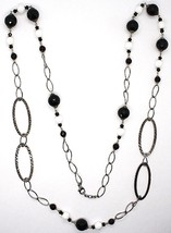 SILVER 925 NECKLACE BURNISHED, ONYX, SPINEL, LENGTH 39 3/8in, CHAIN OVAL image 2
