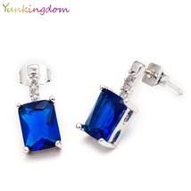 Yunkingdom Brand Square Blue Cubic Zirconia Fashion Stud Earrings Women Jewelry - $7.99