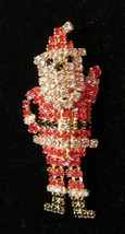 NEW  RHINESTONE SANTA CLAUS BROOCH PIN  LEGS SWING AS YOU WALK!! - $17.95