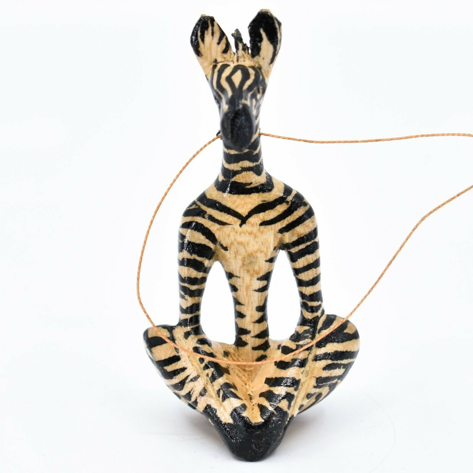 Hand Carved Painted Jacaranda Wood Yoga Lotus Pose Zebra Christmas Ornament