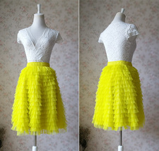 YELLOW Tiered Tulle Skirt Yellow High Waisted Midi Tulle Skirt Tiered Tutu Skirt image 3