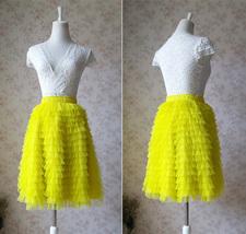 Lemon Yellow Midi Skirt Outfit Yellow Tiered Tulle Skirts Ballerina Tulle Skirt  image 3