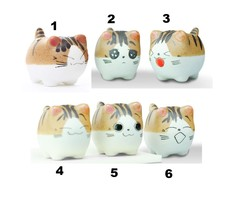 """Air Plant in Cat Planter 3"""", Kitty Ceramic Pot with Emotion Face image 2"""