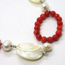 Collar Plata 925 , Círculos Coral, Nácar Ovalados y Perlas Blancas image 3