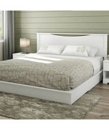 Full Queen King Size White Wooden Platform Bed Frame 2 Under Bed Storage... - $283.04+