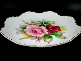 """Vintage Lefton China Decorative Plate Hand Painted Pink Roses Gold Trim 8"""" - $12.87"""