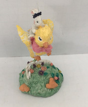 vintage ceramic Easter figurine flying chick peep with bunny spring decor - $14.85