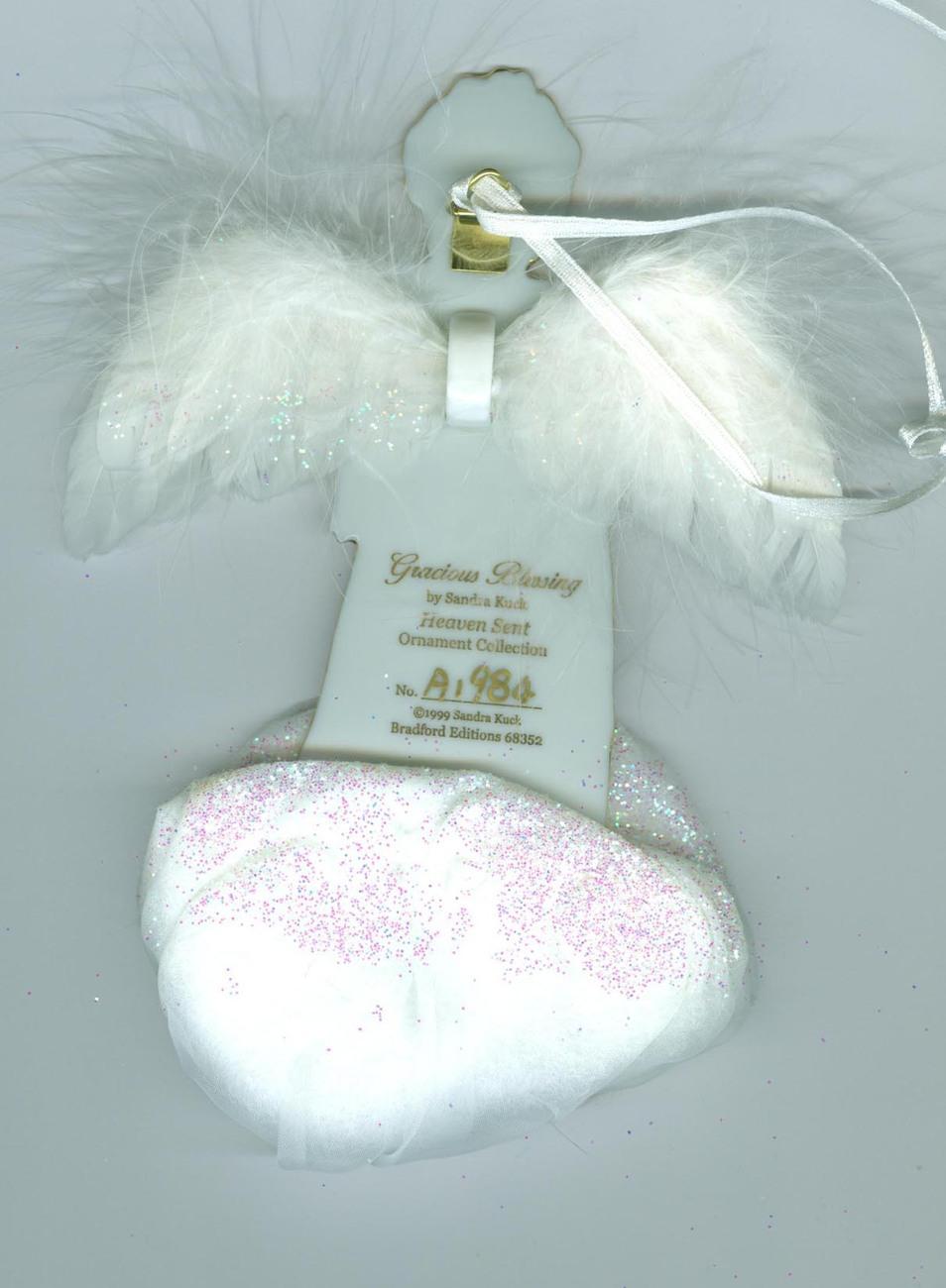 Gracious Blessing  Bradford Edition Porcelain Angel  1999 Christmas