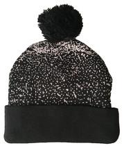 Heist & Co. Black Grey Make It Snow CoCo Fold Pom Beanie Winter Hat NEW image 2