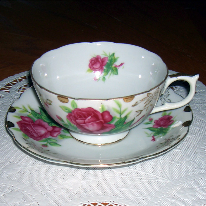 Lefton China vintage cup and saucer  Floral