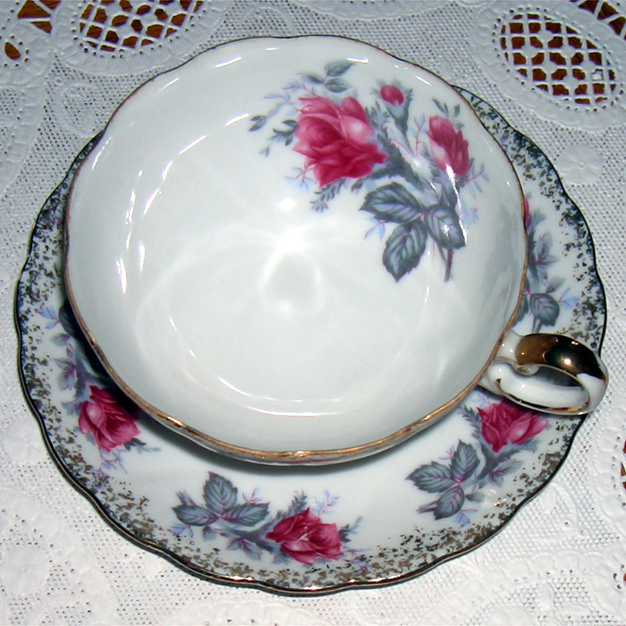 Lefton China vintage cup and saucer pink/gray floral