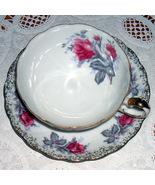 Lefton China vintage cup and saucer pink/gray floral - $13.00