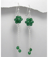 Green Aventurine Faceted Bead Dangle Earrings Sterling Silver - $17.10