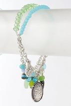 Mint Green Aqua Blue Turquoise Charms & Beads Bracelet - $17.10