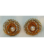 MIRIAM HASKELL GOLDPLATE DOUBLE ROW RHINESTONES FAUX PEARL CLIP EARRINGS... - $119.69