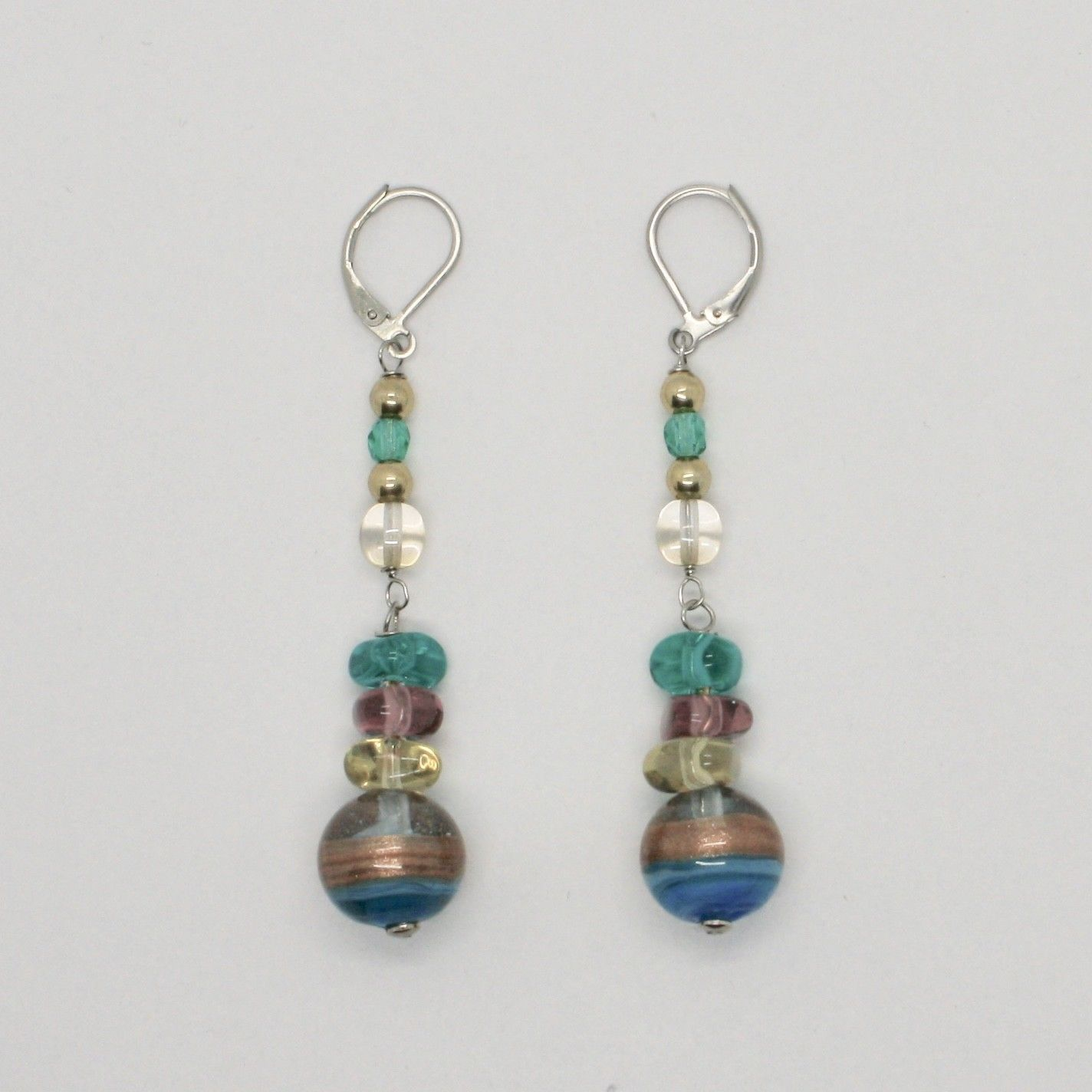 EARRINGS ANTICA MURRINA VENEZIA, MURANO GLASS BLUE PURPLE GREEN OR557A07