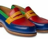 Handmade men leather blue red yellow green multi color men slip ons shoes thumb155 crop